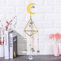 Objetos decorativos Figurines 40 * 9 cm Sun Catcher banhado a ouro de ouro de metal de cristal de cristal ornamento prisma de prisma pendurado casa de