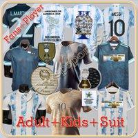 Argentina Futebol Jerseys Messi Maradona di Maria 2021 22 Casa de Paul Kun Agüero Lo Celso Martinez Correa Futebol Jersey Camisa Men Kids Sets uniformes tops