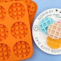 Pişirme Kalıpları Satan 6 Delik Yuvarlak Silikon Waffle Kek Yüksek Sıcaklığa Dayanıklı DIY Kalıp Demould Kolay