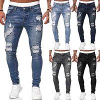 رجل الأزياء هول ممزق جينز بنطلون عارضة الرجال نحيل جان جودة عالية غسلها خمر سروال رصاص 5 كولونا حجم S-3XL