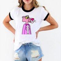 لطيف الكرتون الوردي النمر والرجال تي شيرت المرأة الربيع الصيف قصيرة الأكمام س الرقبة قمصان فام 90 ثانية قمم الشارع الشهير