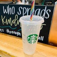 Toptan Konfeti Starbucks Tumbler Soğuk Bardaklar 710ml 24oz Renk Değişen Tatil için Yüksek Kalite Seyahat için Seyahat Içme Angel Tanrıça Geri Dönüşümlü Taşınabilir Tiktok