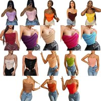 Women t-shirt tops tees summer clothes sexy club elegant pullover fishbone chest wrap sleeveless backless strapless crop top tanks camis beachwear slash neck 03142