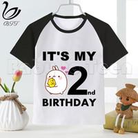 Kids Molang and Piupiu Cute Rabbit Clothes T-shirt Girls Birthday Present Children Boys Tshirts