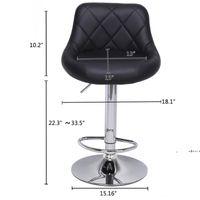 Modern Bar Stools High Tools Type, 2pcs Adjustable Chair Disk Rhombus Backrest Design Dining Counter Pub Chairs sea ship EWE9550