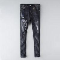 Moda Erkek Kot Pantolon Sıkıntılı Sıska Pantolon Lüks Giysi Ince Motosiklet Moto Biker Hip Hop Denim Adam Nakış Göz Pantolon 28-38