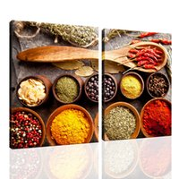 2 Piece Spices and Spoon Painting Canvas Wall Art Waterproof Print in Real Wood Giclee Photo Food Image Artwork for Kitchen Dinning Room Decor 12x16inchx2pcs