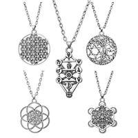 5 pcs vintage Eternal gravar flor de flor de flor de pingente de vida colar 7 chakras cicatrizing celtics nó jóias cadeias