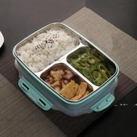 아이들을위한 3 개의 그리드 304 스테인레스 스틸 도시락 상자 열 벤토 박스 크리 에이 티브 디자인 식품 컨테이너 식사 학교 피크닉 fwa8566