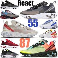نايك رد فعل N354 جور تكس إليمنت 55 87 رجال نساء احذية الجري ثلاثي أسود في الهواء الطلق رجال نساء أحذية رياضية رياضية عدائين