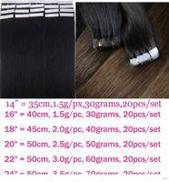 "ZZHAIR 14 ""16"" 18 ""20"" 22 ""24"" Cintas de cinta 100% Brasileño Remy Extensiones de cabello humano 20pcs Pack Tape in Hair Ski"