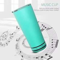 Music Tumbler with Wirless Speaker Bluetooth Waterproof Cup Stainless Steel 18oz Outdoor Portable New Arrival 2021 White Sublimation Bottle 20 Pieces lot Gift