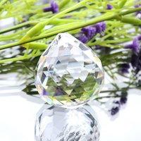 50mm Kristallkugel Dekorieren Klarer Glas Kristallkugel Prisma Anhänger Klarer Facettierter Perlen Rainbow Maker Hochzeit Home Büro Dekoration CCF6412