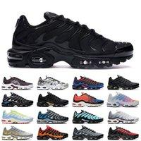 حذاء رياضي رجالي نسائي من Nike Air Max Plus TN ثلاثي أسود وأبيض وأزرق مفرط الجهد وأرجواني أكوا فضي