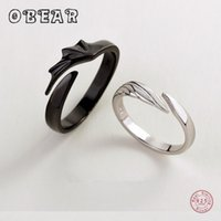 OBEAR 100% 925 Sterling Silver Angel And Devil Couple Rings Wing Feather Opening Rings for Women Men Lovers Party Jewelry A0611