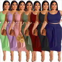 Kadın Artı Boyutu Elbiseler Yaz Iki Parçalı Etek + Üst Kolsuz 2 Adet Yelek Elbise XL / 2XL / 3XL / 4XL / 5XL