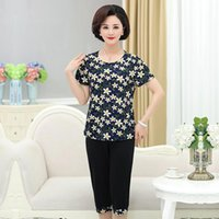 Women's Tracksuits Summer Women Suits Middle-aged Mother Clothing Short-sleeved T-shirt Tops Plus Size 5XL Two-piece Suit BC987