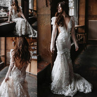 Floral Lace Mermaid Wedding Dresses 2022 berta Illusion long Sleeve Boho Country backless fishtail Bridal Gowns spring trading co