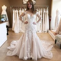 Lace Mermaid Wedding Dresses Off The Shoulder Long Sleeves Bridal Gowns Appliqued Corset Up Back Lady Marriage Robe de Marriee