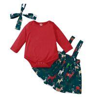 Clothing Sets 3PCS Girls Christmas Suits Baby Solid Romper+ Deer Suspender Skirts+Headbands Set Long Sleeve Winter Children Suit