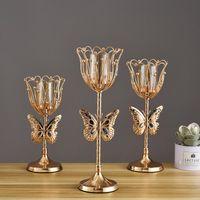 1pc Nordic Fer Chandelier Vintage Hollowed Flower Bougeoir Home Mariage Dîner Table Ornement Porte-ornement