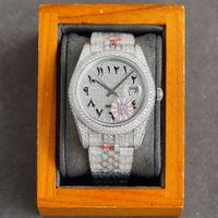 Full Diamond Mens Watch Automatic Mechanical Watches 41mm With Diamond-studded Steel Women Fashion Wristwatch Bracelet Montre de Luxe Top Qu