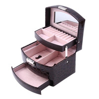 Layers Leather Jewelry Box Packaging Makeup Storage Automatic Container Case Gift Women Cosmetic Basket Pouches, Bags
