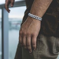 Iced Out Men Luxury Rhinestone Curb Cuban Link Bracelet Gold Sliver Color Hip Hop Jewelry Drop