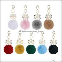 Keychains Fashion Aessorieswholesale Big Snowflake Pendant Faux Rabbit Fur Ball Handbag Ring Plush Pompom Key Chain Ornament Pom Charm Cute