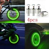 Interiorexternale Lichter 4x Auto Reifen Reifen Radstaubstamm Luftventilkappe LED Lichtabdeckung Zubehör montiert