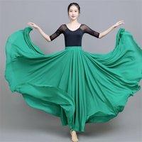 밸리 댄스 쉬폰 여자 17color 단단한 720도 진자 치마 집시 긴 스커트 댄서 연습 보라색 골드 스커트 210330 착용