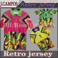 Classic Mexico Jorge Campos # 1 1998 Jersey de football rétro Jaune multicolore Verde Pink multicolore # 1 Gardien de but Zidane Henry Vintage Shirt de football