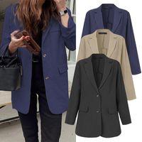 Casacos de mulheres e jaquetas 2021 Moda Senhoras Blazer Duplo-Breasted Zanzea Casual Outwear Sólido Feminino Ternos de Escritório Plus Size 5XL Mulher B