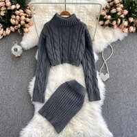 Women's Tracksuits Women Knitted Two Pieces Set 2021 Autumn Winter Turtleneck Long Sleeve Pullover Sweater + Mini Pencil Skirt Suits Female