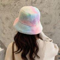 Geniş Brim Şapkalar Faux Kürk Kravat-Boya Kova Şapka Balıkçılar Kadınlar Için Kış Sıcak Güneş Kremi Kapaklar Avcılık Balıkçılık Gorros