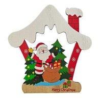 Per Natale in legno Pentent Pentagram Casa Auto Forma Xmas Tree Decoration Snowman Elk Stampato Cartoon Cartoon Carino Artigianato Ornamenti Forniture G71R9UQ