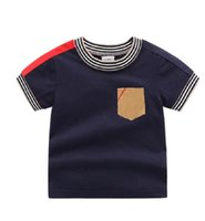 أطفال صبي الملابس القمصان للجنسين القطن منقوشة شريط خليط بأكمام قصيرة طفل بنين بنات الزى 1-6 سنوات