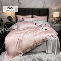 Lofuka الفاخرة أعلى درجة 100٪ الحرير المرأة الوردي الفراش مجموعة الجمال حاف غطاء وسادة ملكة الملك ورقة مسطحة أو مجموعات المجهزة