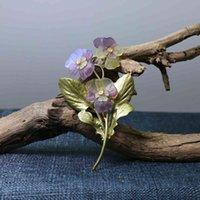 Intellektuella eleganta koppargröna blad av lacken som baka för att återställa gamla sätt pansy blomma brosch broscher kvinnlig AC