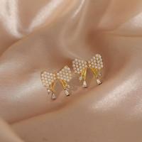Stud 2021 Fashion Sweet Pearl Bowknot Modelling Joker Earrings Contracted Fresh Small Lovely Trend Women Earring Temperament