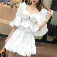 TWOTWINSTYLE Ruffle Lace Blouse Women White Shirt Autumn Sexy Ladies Square Neck Tops Puff Sleeve Korean Fashion Clothing 210409