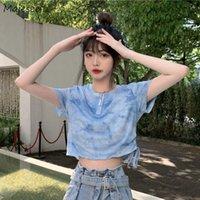 짧은 소매 티셔츠 여성 자르기 O 넥 인쇄 간단한 디자인 여름 패션 여성 탑 섹시한 해변 한국어 스타일 사랑스러운 레트로 여성의 T-shir
