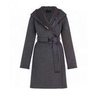 High quality long autumn and winter women's wool coat fashion warm jacket Parker casual letter printed elastic belt coats wools