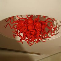 Modern Ceiling Lights Lamp Kitchen Bar Vintage Red Color Hand Blown Glass Crystal Chandelier 60*60CM Creative Lighting