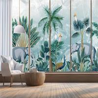 Mermer Mural Duvar Kağıdı 3D Nordic El-Boyalı Tropikal Orman Bitki Fil Duvar Kağıtları Ev Dekorasyon