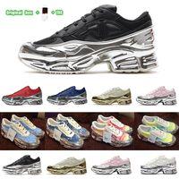 [Caixa original + Meias + Tag] Sneeekers RAF Simons Sapatos Casuais Sneaker Oversized Sapatilha Ozweego Sapato Homens Mulheres em Prata Efeito Metálico Sola RS Sport Trainer Tamanho 36-45