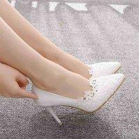 Kristal Kraliçe Beyaz Dantel Çiçek Bayan Zarif Düğün Ayakkabı Pompaları Gelin Yüksek Topuklu Platformu Bayanlar Takozlar Parti Elbise 210610