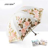 Guarda-chuvas como chuva rendas guarda-chuva mulheres dobrável flor camada de casal revestimento preto anti uv parasol casamento uby85