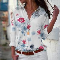 여성 블라우스 셔츠 여성 캐주얼 V 넥 인쇄 버튼 긴 소매 셔츠 탑 블라우스 Camisa Feminina Manga Commula