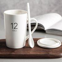 coffee Nordic digital Mug simple home matte water gift spoon ceramic cup3S4U XB5M